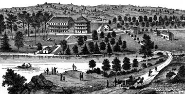 A depiction of the Cold Spring resort in the mid to late 1800s. At one time the small hamlet along the railroad had two hotels to serve those seeking a retreat to the rural area north-east of Harrisburg.