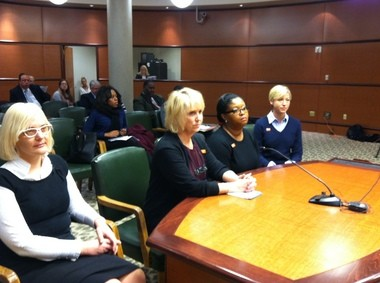 YWCA members were at the Dauphin County commissioners meeting' Jan. 14 discussing human trafficking: (from left) Krista Hoffman, coordinator of human trafficking services; Rhonda Hendrickson, director of violence intervention and prevention services; Tina Nixon, CEO; and Mary Quinn, VP of programs.