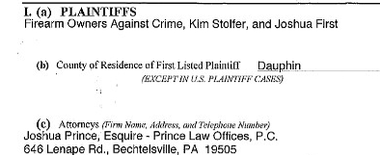 This paperwork listing plaintiffs in a gun lawsuit was among the evidence cited in a default judgment because it left off the name of one plaintiff, Howard Bullock.