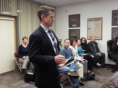 East Pennsboro Middle School Principal Michael Sim tells school board members about steps which led to the school winninga $400,000 grant from Capital Area Intermediate Unit, as teachers who led the effort listen.