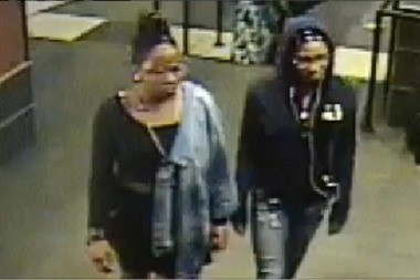An image of the suspects in the alleged beating of Cindy Santamaria-Williams of Stroudsburg, Pa., who suffered a broken eye socket and bruises during an attack that took place in a local movie theater after she 'shushed' teen girls who she says were talking loudly and cursing during the film.