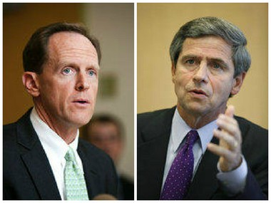 Sen. Pat Toomey posts low approval numbers, but leads over Democrat challengers, including Joe Sestak (right)