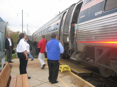 Passengers disembark on a morning train at the Middletown Amtrak station in 2010.
