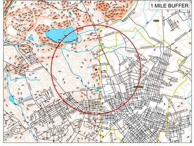 Map reflecting the area affected by the recommended shelter-in-place associated with the fire at Miller Chemical. Incident command has also recommended businesses within this radius close.