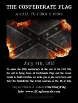 John Sims, an artist in Florida, is staging a national event for artists to burn or bury the Confederate Flag on July 4.