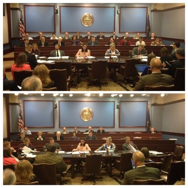 A before and after shot of the House State Government Committee following the Democrats walk out on a vote regarding the GOP-backed pension reform plan.