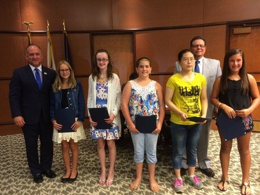 Dauphin County cultural diversity essay contest winners in the age10-14 group were (left to right): Riley Yonchiuk, first; Victoria Gnall, second; Lily Towson, third; Paggy Lin, fourth; Elsie Brescia, fifth.