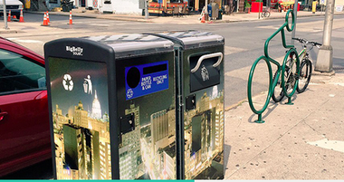 Solar-powered trash and recycling containers added in June.