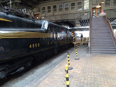 The historic GG1 locomotive pulls into Harrisburg train station.