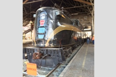 Historic GG1 locomotive in its final spot in Harrisburg Transportation Center.