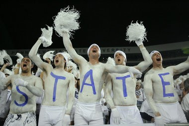 Penn State fans create a whiteout during a September 2008 game at Beaver Stadium.