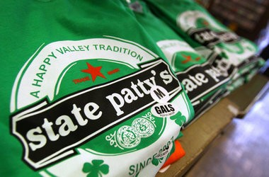 State Patty's Day T-Shirts are on display at People's Nation shop on College Avenue in State College on Wednesday, February 17, 2010.