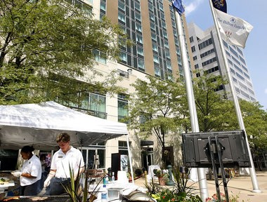 The Hilton Harrisburg was one of two Harrisburg-area hotels that ranked among the top 10 in the state in terms of labor law violations recorded between May 2008 and May 2013. A hotel official said the problems were the result of a misinterpretation of how to handle tipped shuttle drivers' wages, and has since been rectified. (File photo)