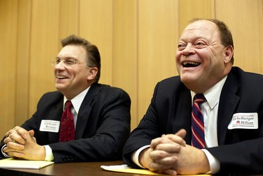 Former Carlisle Mayor Kirk Wilson, right, is pictured with Cumberland County Commissioner Gary Eichelberger.