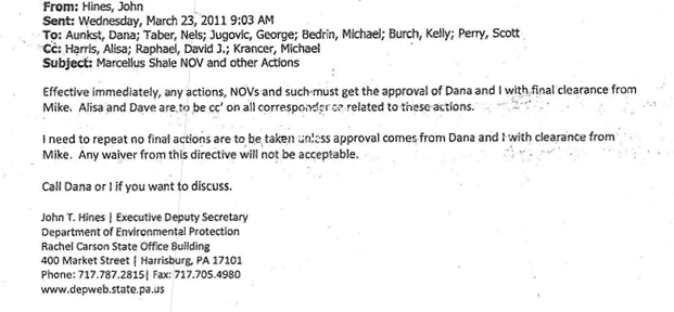 An email sent to DEP staffers in March 2011 indicated that all notices of violations must receive approval from Secretary Michael Krancer before being issued.