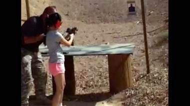 A nine-year-old girl fires an Uzi after just a couple of words of instruction, killing her instructor standing next to her at a Las Vegas area gun range Monday.
