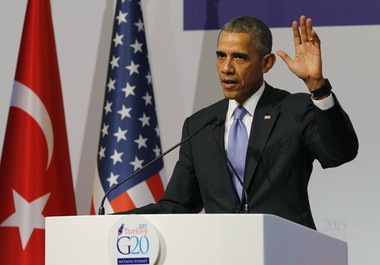 U.S. President Barack Obama gestures to journalists following a news conference at the end of the G-20 summit in Antalya, Turkey, Monday, Nov. 16, 2015. The Paris terror attacks have sparked widespread calls from some to end or limit U.S. refugee admissions from Syria.