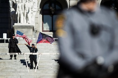 White supremacist group, the National Socialist Movement, holds a rally on the steps of the Capitol in Harrisburg on the Saturday before the election. November 05, 2016 Sean Simmers | ssimmers@pennlive.com