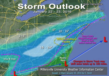 Snow accumulation estimates by Eric J. Horst, director of the Weather Information Center at Millersville University.