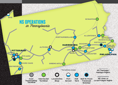 A diagram of where Norfolk Southern operations is located around Pennsylvania.