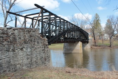 What remains of the Dellville Bridge over Shermans Creek in Wheatfield Township, Perry County. The circa-1889 covered bridge could be rebuilt this summer.