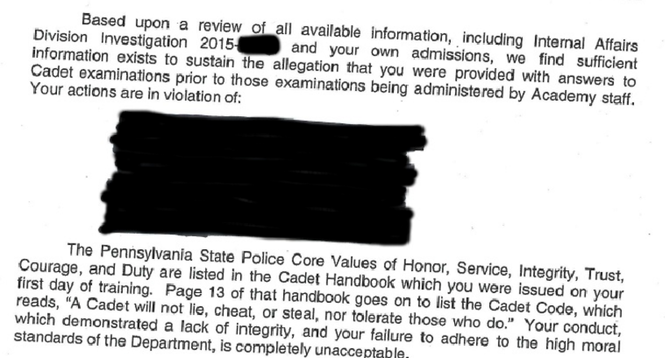 An example of the kind of dismissal letter the State Police gave to cadets it determined were part of the alleged cheating scandal at the academy. A full copy is available at the bottom of this article.