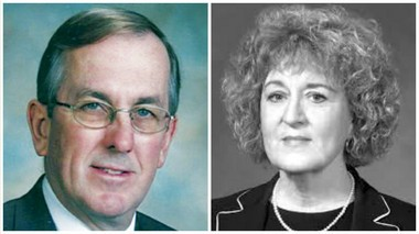 In 2002, a letter detailing information on clergy sex abuse in the Altoona-Johnstown Diocese was sent to three senior law officials, including Cambria County Judge David Tulowitzki (left), who was then District Attorney; Karen Arnold (right), then-Assistant District Attorney in Centre County; and Catherine Miller, then-Assistant District Attorney in Blair County.