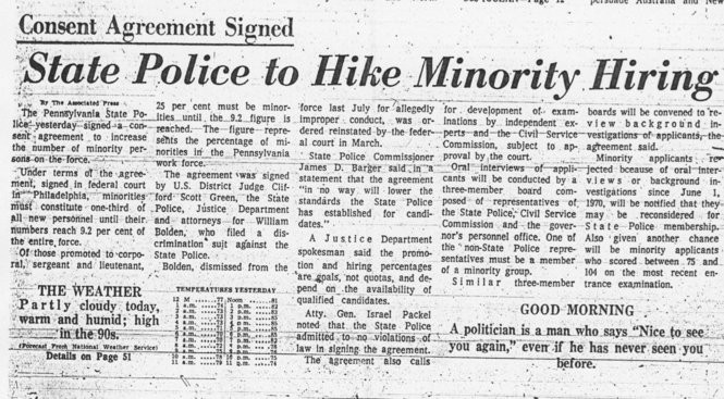A newspaper report in The Patriot-News about the signing of the consent decree in 1974.