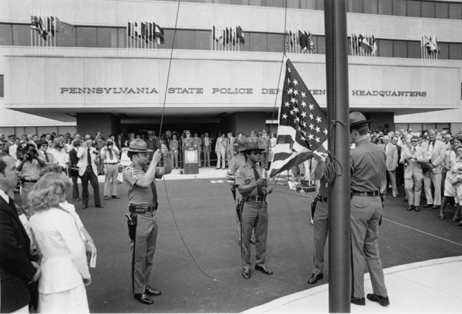 A 1978 dedication ceremony for the Pennsylvania State Police headquarters in Harrisburg. (Norman Arnold, Allied Pix for The Patriot-News)