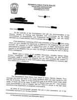 An example of the dismissal letter given to cadets who were removed from the State Police Academy amid cheating allegations.