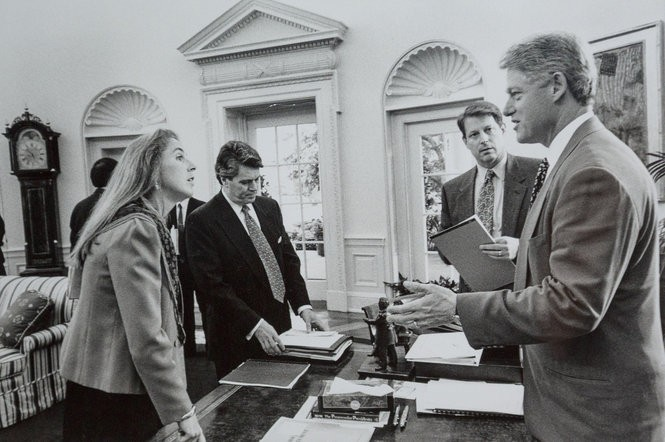 Katie McGinty in the Oval Office with President Bill Clinton and Vice President Al Gore.
