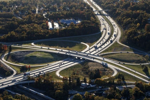 The I-81 and Route 11/15 interchange in Cumberland County.