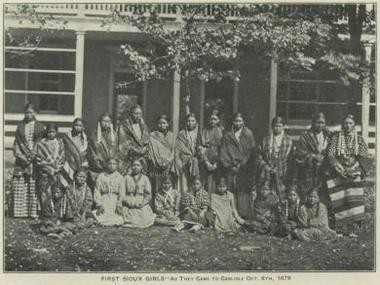 First Sioux girls arrive at the Carlisle Indian Industrial School on Oct. 6th, 1879.