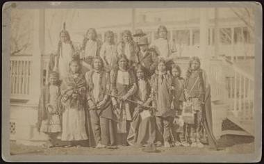 Shoshonee and Northern Arapahoe children as they arrived at the school in the late 1890s.