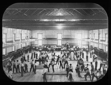 American Indian students at play in the gymnasium at the Carlisle Indian Industrial School
