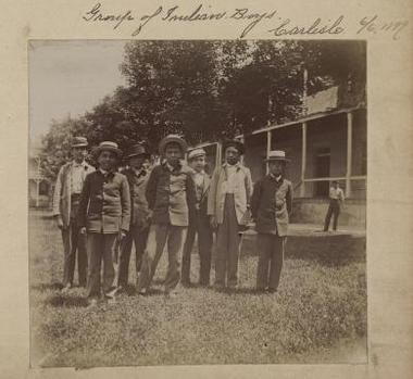 A group of American Indian boys who were students at the Carlisle Indian Industrial School. June 1899.