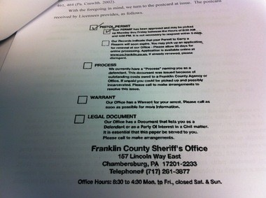 Gun owners claim the Franklin County sheriff violated their privacy rights by using postcards containing this information to notify them about their concealed carry permits.