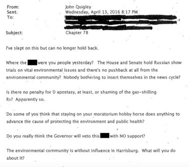 Click to enlarge this email from John Quigley.