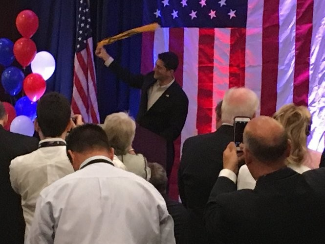 U.S. House Speaker Paul Ryan, R-Wisc., waves the Steelers' Terrible Towel as he addressed Pennsylvania Republicans at their first breakfast of this week's Republican National Convention in Cleveland (PennLive photo by John L. Micek)