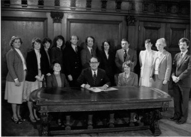 The Pennsylvania Coalition Against Domestic Violence grew out of a women's grassroots effort to help battered women. To the right of then-Gov. Dick Thornburgh sits its founder Susan Kelly-Dreiss. She retired in 2008.
