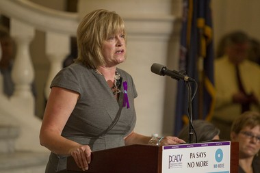 "PCADV has pushed to update Pennsylvania's PFA laws to reduce firearm-related domestic homicides. The organization supports legislation that would bar all domestic abusers subject to active final PFAs from possessing a gun, and requiring them to turn in their guns to law enforcement or to a licensed firearms dealer. Pennsylvania Coalition Against Domestic Violence executive director Peg Dierkers speaks at a ""Say No More"" rally at the Capitol in 2014 Mark Pynes 
