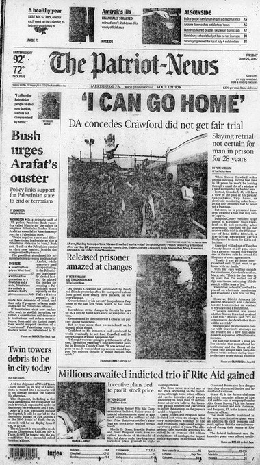 Steven Crawford's release from prison after serving 28 years was covered by The Patriot-News in 2002.