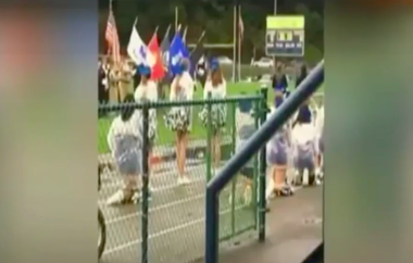 Thirteen Cornell High School cheerleaders took a knee during the national anthem Sept. 30 in front of military veterans serving as color guard.
