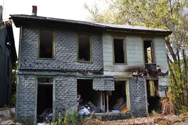 Blighted duplexes in the 4700 block of Tuscarora Street were demolished in the Land Bank project.