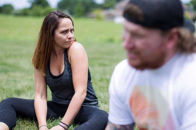Rob and Megan Easley face a future full of both possibilities and uncertainties. They are pictured here at Megan's parents' house near Chambersburg in summer 2016. Weeks later, they relocate to Florida to be near the military community of bomb disposal specialists -- the only people who Rob says truly understand all he's been through.