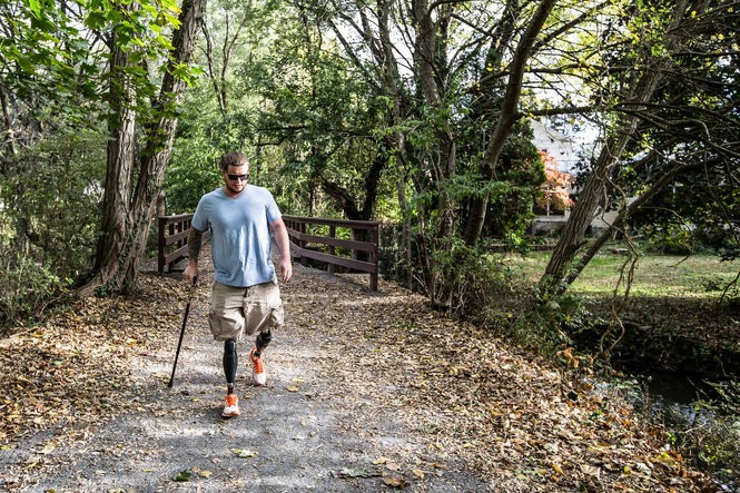 Rob Easley has completed his long walk home from war and winning his battle to walk again after losing both of his legs above the knee.