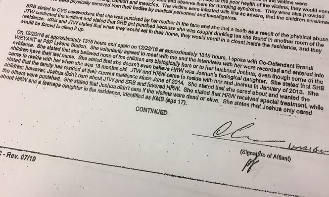 An excerpt from the affidavit of probable cause written in the Weyant case.