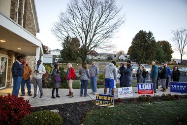 Voters lined up outside the First Assembly of God Church in Susquehanna Township on Election Day. Dan Gleiter   dgleiter@pennlive.com