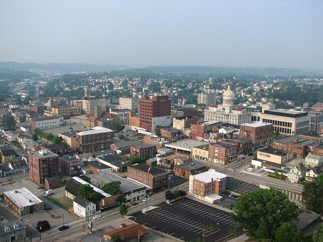 Greensburg in Westmoreland County, pictured here in an aerial shot, is located within the boundaries of Hempfield Township. Photo via Wikimedia Commons.