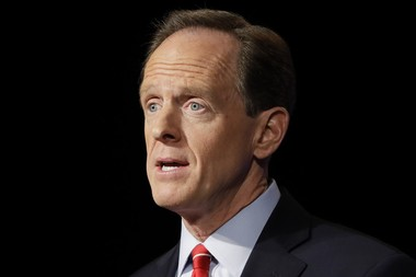 Sen. Pat Toomey, R-Pa., has recently come under fire from constituents for not holding in-person town halls. His staff says he usually holds those during the August recess. (AP Photo/Matt Rourke)